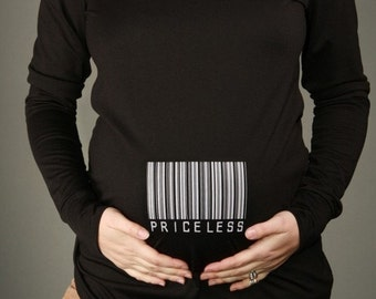 PRICELESS Black LS Maternity Top Tee T-shirt