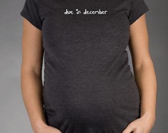 Custom Due In Heart - Charcoal Short Sleeve Maternity T-shirt