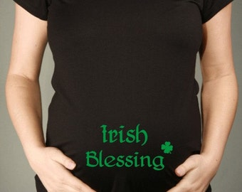 St. Patrick's Irish Blessing Black Short Sleeve Maternity T-shirt