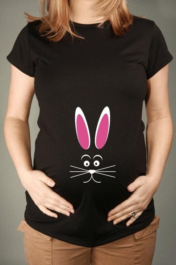 EASTER BUNNY, Womens Black Short-Sleeved Maternity T-shirt