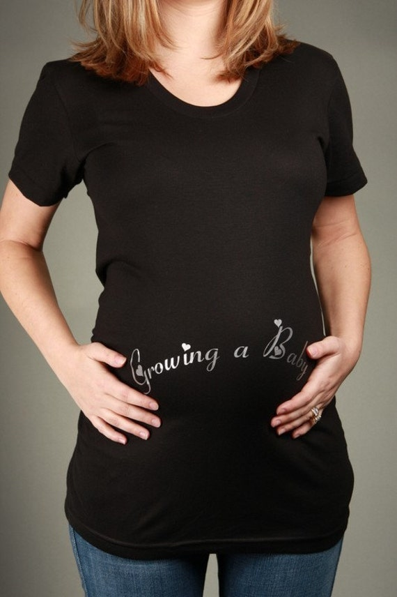 GROWING a Gril/Boy/Baby Maternity T-shirt, Short Sleeve Black
