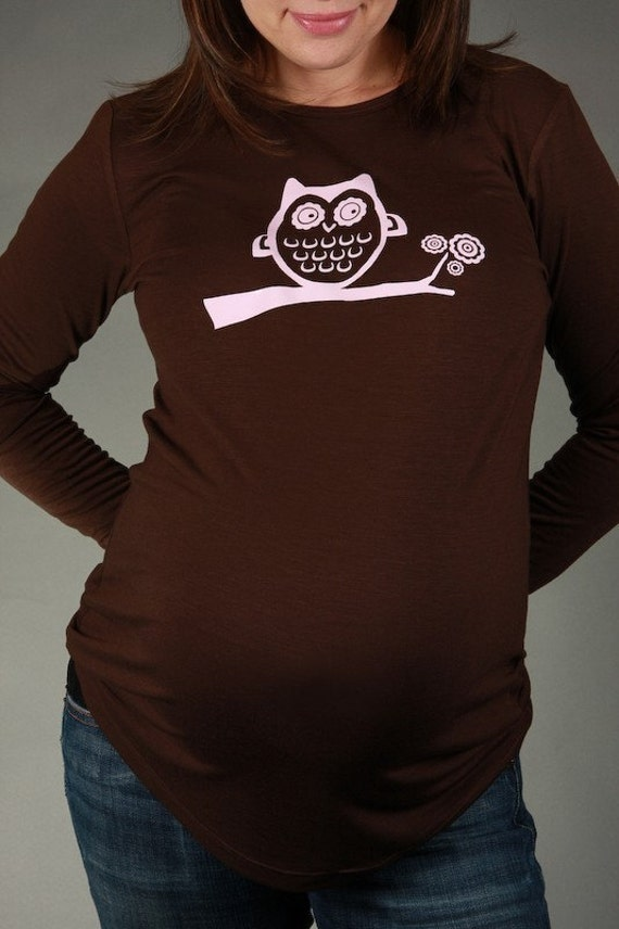 Watchful OWL.  Maternity Top Tee T-shirt Long-Sleeve Chocolate