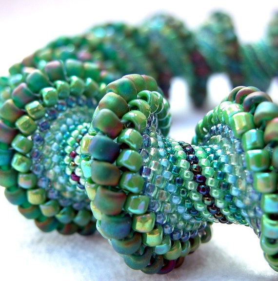 Pattern Only - Spiral Peyote Pattern for My Going Green Cellini Bracelet