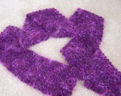 Super Soft Chunky Hand Knit Purple Plum Violet Women's Scarf