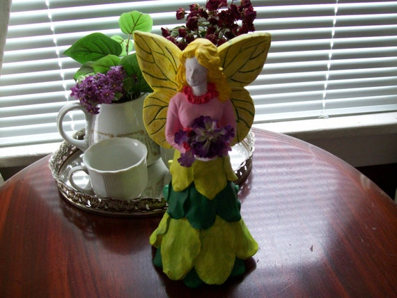 Fairy, Garden Fairy with a Bouquet of flowers, Garden Fairy in a skirt of leafs and a pink top, Garden Decoration, Fairy Decoration