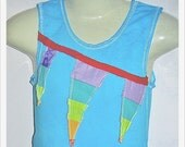 sweet birdie blue ORIGINAL Applique tie-dyed SINGLET Size 2-3