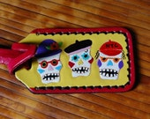 Day of the Dead leather Luggage Tag