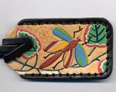 Dragonfly leather luggage tag