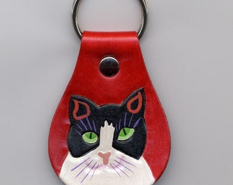 Cat Head Shot leather Key Fob