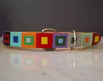 Leather Dog Collar with Colored Squares