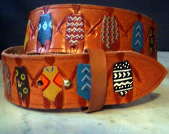 Sisters hand painted leather belt