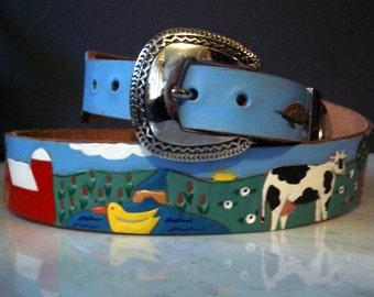 Leather Belt with Farm Scene