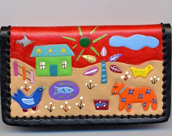 Business Card Case handpainted leather Village Design