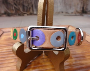 Colorful Circles leather Dog Collar