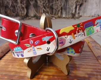It Takes a Village leather Dog Collar