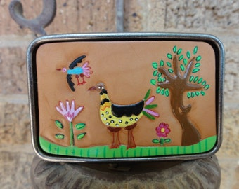 Belt Buckle with Funny Birds