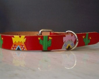 Teepees and Cactus leather Dog Collar