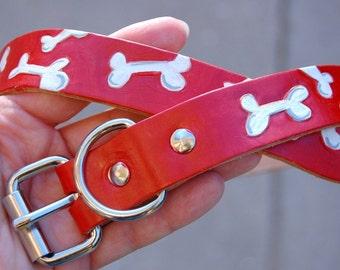 Leather Dog Collar with Boney Design