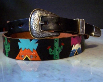 Cactus and Tepees handpainted belt