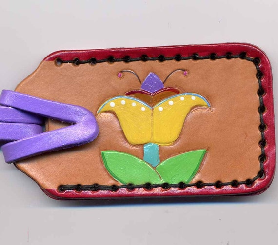 Yellow Flower handpainted leather Luggage Tag