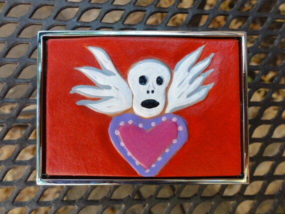 Belt Buckle with Heart and Winged Skull