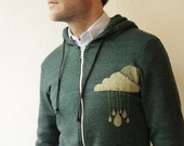 GOLDEN clouds Size Large - Forest GREEN heather HOODIE sweatshirt