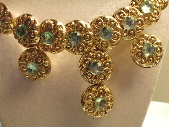 """Vintage Inspired-Golden Filagree Embossed Buttons-Blue Topaz Rhinestone-Choker Necklace-Earrings-Costume Jewelry Set-""""BLUE DANUBE"""""""
