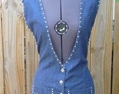 Upcycled Vest, Handmade Vest, Lightweight Denim, Silver Decorative Studs, Denim Vest, Upcycled Clothing, Unique Clothing, Adjustable Waist