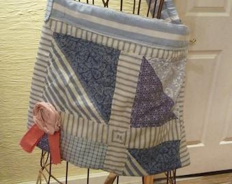 SALE, Shabby Tote Bag, Purse, Blue Patchwork, Vintage Fabric, Shoulder Bag,Unique Tote,Handmade,Rolled Rose Applique,Shabby Look,Quilted Bag