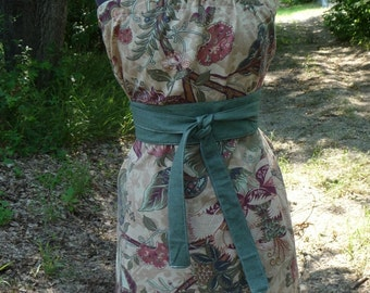 Pillowcase Dress, Handmade Dress, Eco Clothing, Green Obi Belt, Earthy Colors, Flower Dress, Recycled Pillowcase, Strapless, Unique Clothing