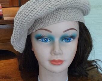 handmade hat, winter hat, beret, beige hat, tan hat, khaki hat, knit hat, accessories, womens accessories, clothing, fall hat, unique hat
