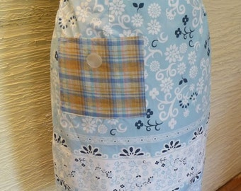 Upcycled Skirt, Upcycled Clothing, Handmade Skirt, Unique Clothing, Womens Skirt, Small, Size 5, Plaid Pocket, Blue Skirt, Flowered Skirt
