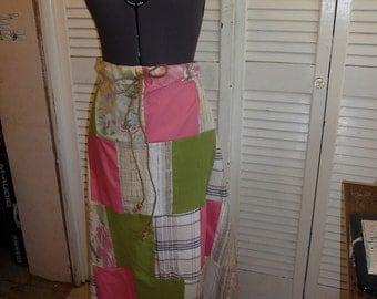 Patchwork Skirt, Vintage Fabrics, Handmade Skirt, Long Skirt, Colorful Skirt,Drawstring Waist,Multi-size Skirt,Unique Clothing,Spring Summer