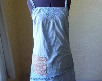 Sundress, Handmade, Upcycled, Blue Cotton Dress, Unique Clothing, Flowered Pocket, Small Medium, Pretty Ruffles, Spring Summer Dress, Straps