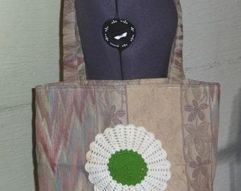 SALE, Handmade Tote Bag, Tapestry Fabric Tote, Handmade Bag, Large Tote Bag, Vintage Fabric, Vintage Handmade Doily, Unique, Accessories
