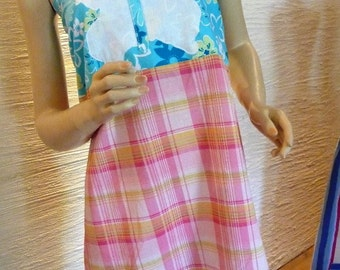 butterfly shirt, apron top, handmade shirt, Spring Butterfly Top, apron, Earth Friendly, unique clothing, pink plaid fabric, large applique