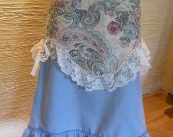 Upcycled Clothing, Upcycled Curtains, Handmade Skirt, Ruffled Skirt, Vintage Curtains, Recycled Clothing, Unique Clothing, Eco Clothing