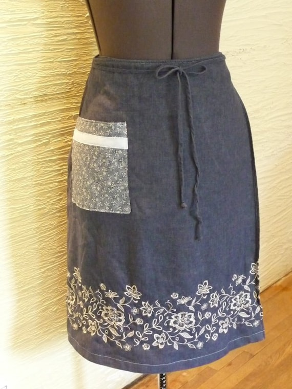 Skirt Wrap Skirt Handmade Wrap Front Upcycled Front Flowered Pocket Womens Size 18 Embroidery Flowers Unique Clothing Recycled