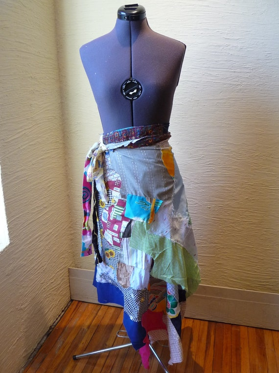 Scrap Wrap Skirt No 18 Handmade Patchwork Skirt Wrap Skirt Unique Clothing Vintage Fabrics Multi Colors Colorful Skirt Original Design