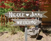 Outdoor, Old Wood,  2 Directional arrow Wedding Signs With 1 Stake. Hand Painted Custom Order. YOUR WORDING Reception Parking Seating Ceremony Cocktails Bar Dinner Party