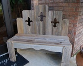 Reclaimed Wood Bench. Fleur De Lis Decorations. House Decor. Fan Back Bench. Louisiana Saints. Porch Bench. Entry Way Bench Entryway Seating