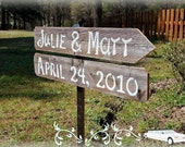 Wood Wedding Sign, Names and Date Sign Wedding Signs With Stake.Reclaimed Wood Reception Parking Seating Ceremony Cocktails Bar Dinner Party