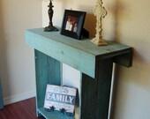Console Table in Ocean Blue Cedar Wood Wall Table. Entry Table. 30x11x30 Colorful Home Decor. Beach House. Sea Blue Table