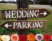 LARGE Wedding Signs. Wedding Reception Sign With A Stake. Hand Painted Party Signs. Road Signs. Directional Arrow Sign