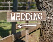 Wedding Sign. LARGE FONT. Arrow Wood Sign. Hand Painted on Recycled Wood Rustic Directional With A Stake