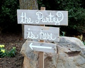Wedding Signs Cursive Rustic Wedding. Shabby Wedding. Country Wedding Signs. Directional Arrow Signs. Road Signs. With Stake