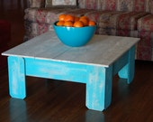Large Coffee Table Farmhouse Table Square Table Wood Table Teal and White Table Distressed Blue Table Beach House Table 36x36x15
