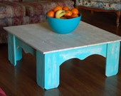 Country Coffee Table Square Coffee Table Short Coffee Table Teal and White Table Distressed Blue Table Beach House Table 36x36x15 Wood Table