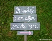 Happily Ever After Starts Here Wedding Sign. Rustic Wedding. Wedding Reception Signs. Reception Decorations. Country Wedding