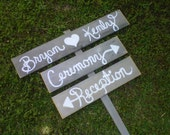 Wedding Sign Script Font Outdoor Decorations Cursive Hand Painted Wood. Directional Arrow Wooden Sign Reception Signs. Ceremony Arrow Sign